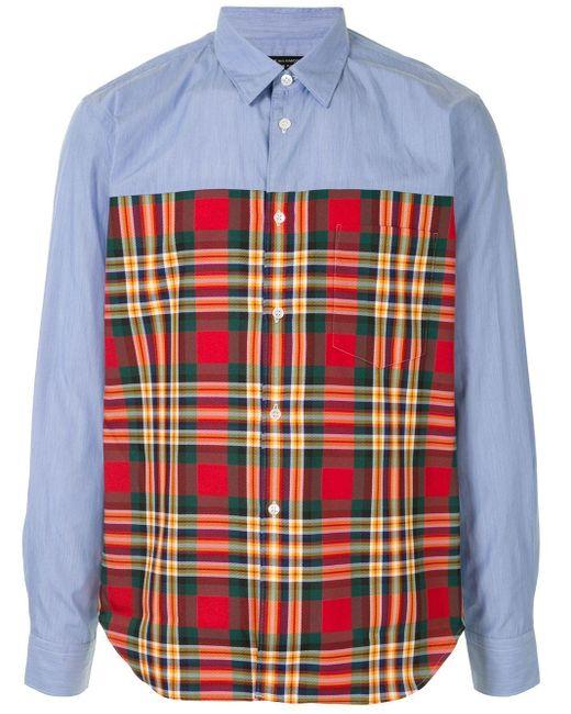 Comme des Garçons Blue Plain And Checked Tartan Shirt for men