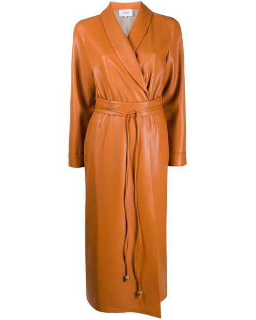 Nanushka ベルテッド ラップドレス Orange