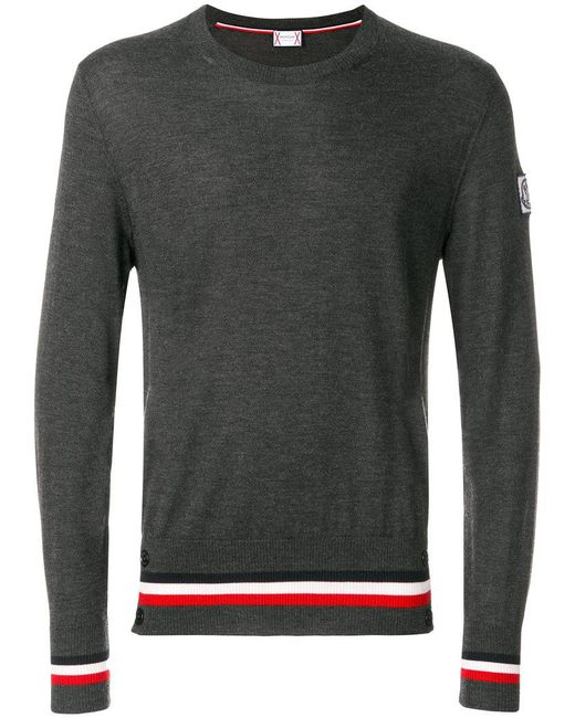 Moncler Gamme Bleu | Gray Striped Hem Jumper for Men | Lyst
