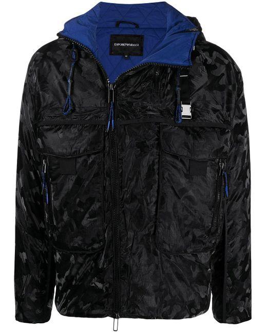 メンズ Emporio Armani カモフラージュ パデッドジャケット Black