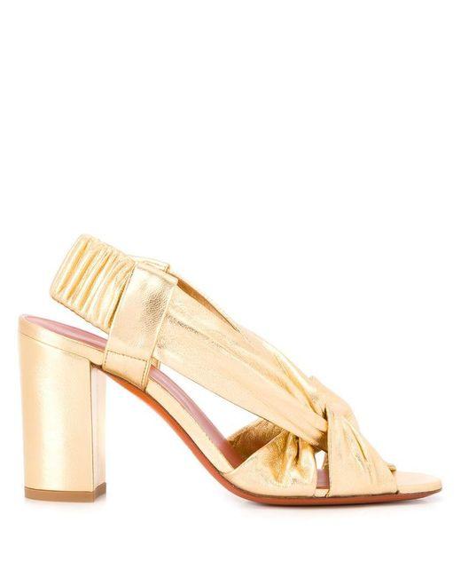 3989ed14e68 Santoni - Metallic Chunky Heel Knot Sandals - Lyst ...