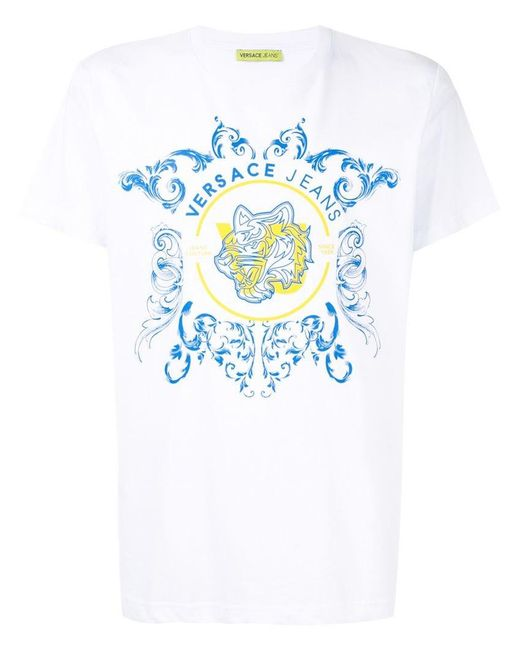 90db9541 Versace Jeans - White Tiger Print T-shirt for Men - Lyst ...