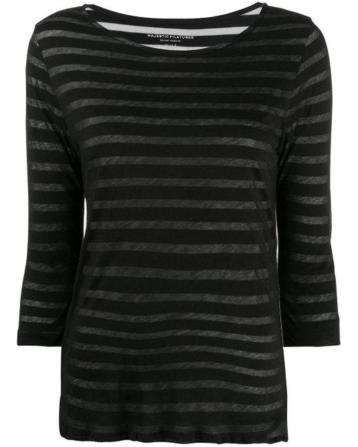 Majestic Filatures ストライプ Tシャツ Black