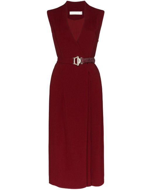 Victoria Beckham ベルテッド ドレス Red