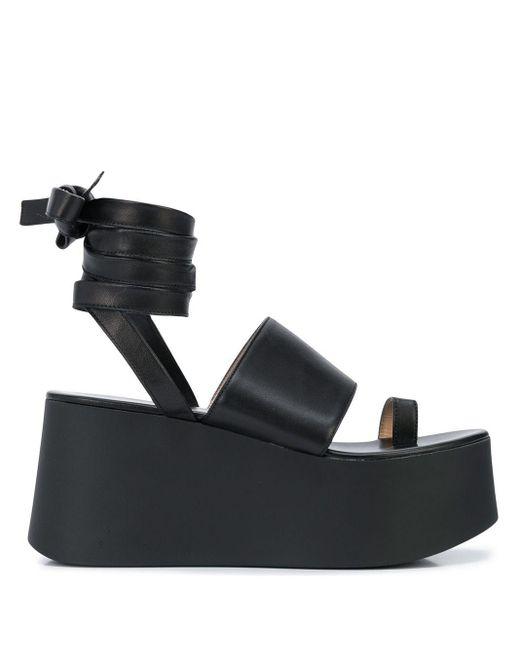 Gianvito Rossi Sandalias de plataforma con tira en el tobillo de mujer de color negro