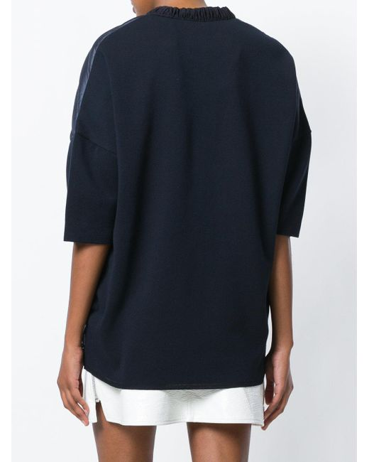 f22a53689d ... Moncler - Blue Short Sleeve Padded Front Cardigan - Lyst