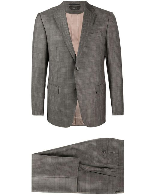 Z Zegna Gray Prince Of Wales Check Suit for men