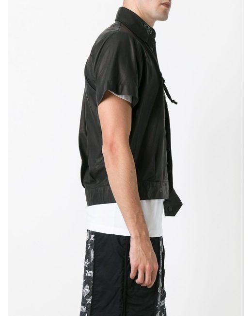 メンズ KTZ ドローストリングポケット レザージャケット Black