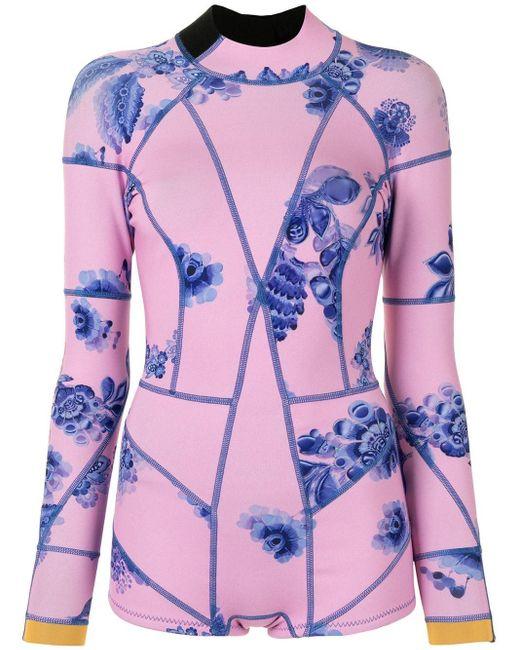 Cynthia Rowley Bowie フローラル ウェットスーツ Pink