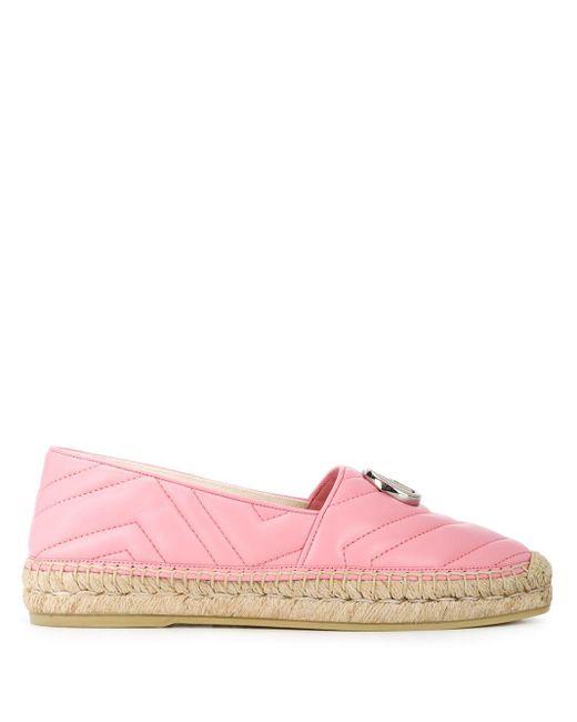Gucci Pink Espadrilles aus Matelassé-Leder