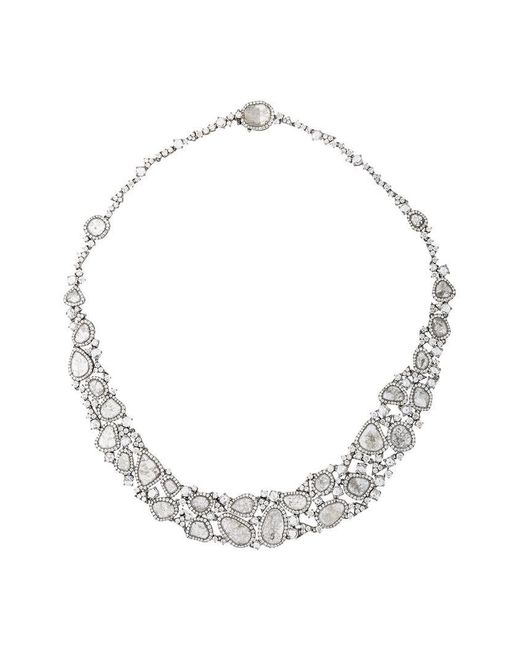 Saqqara | Metallic 18kt White Gold And Diamond Necklace | Lyst