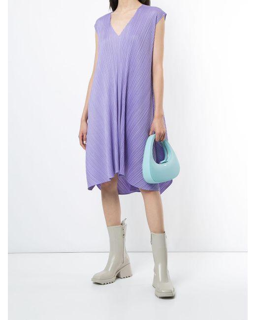 Pleats Please Issey Miyake プリーツ フレアドレス Purple