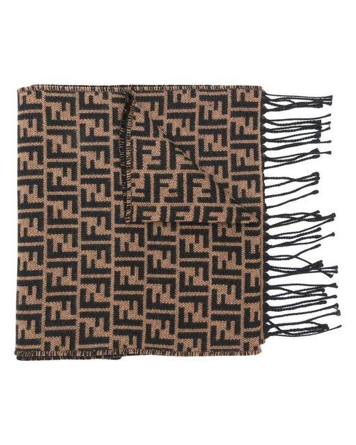 Fendi - Brown Ff Logo Knit Scarf for Men - Lyst