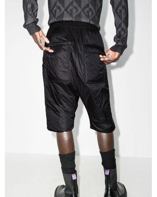 Rick Owens Black Drawstring Waist Padded Shorts for men