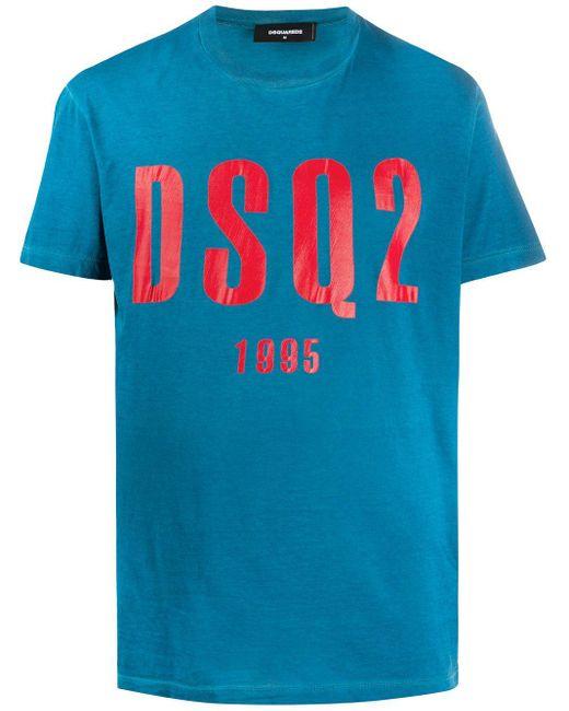 メンズ DSquared² ロゴ Tシャツ Blue