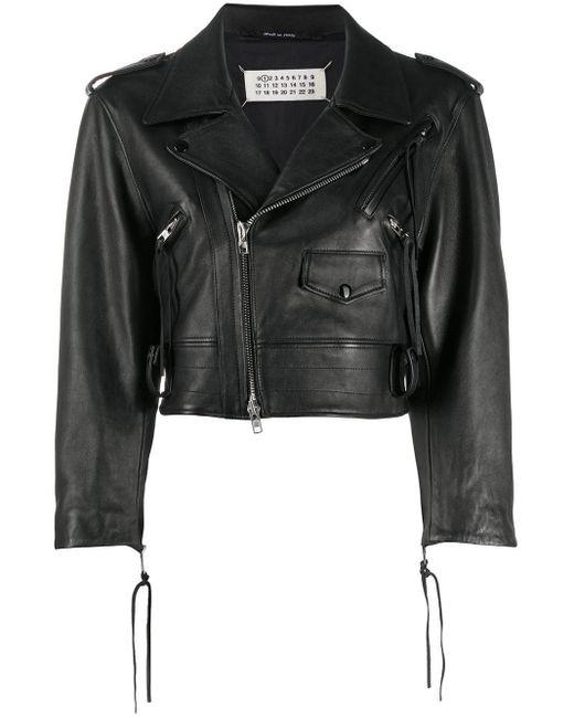 Укороченная Байкерская Куртка Maison Margiela, цвет: Black