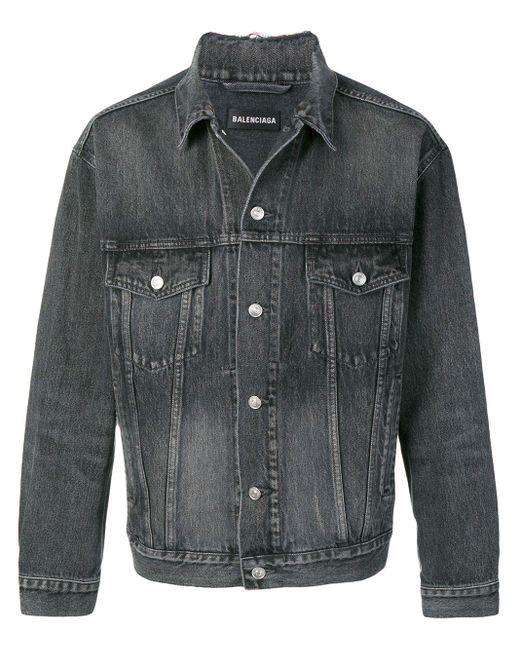 メンズ Balenciaga ロゴ デニムジャケット Gray