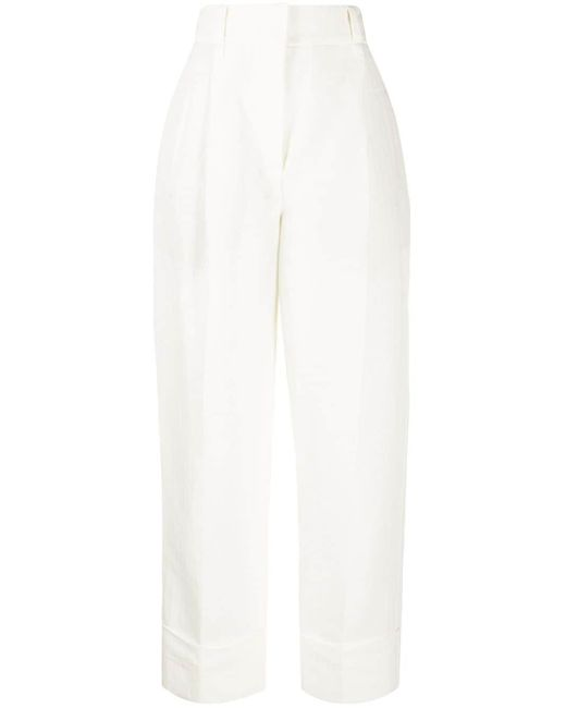 Брюки Прямого Кроя С Завышенной Талией Brunello Cucinelli, цвет: White