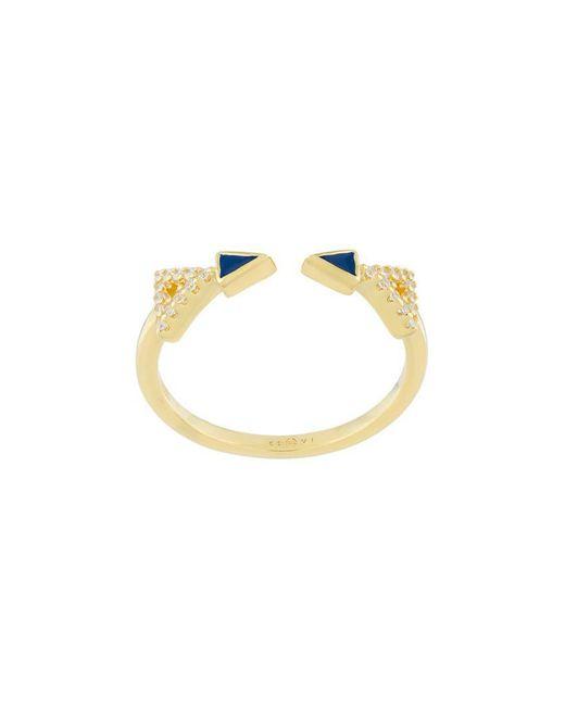 Eshvi - Metallic Crystal Embellished Ring - Lyst