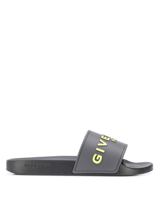 メンズ Givenchy ロゴ フラットサンダル Gray