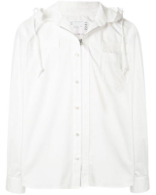 メンズ Sacai フーデッド シャツジャケット White