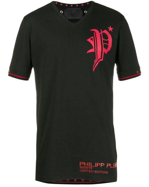 Philipp Plein T-Shirt mit V-Ausschnitt in Black für Herren