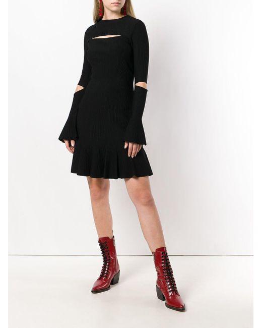 21769683d2 ... Alexander McQueen - Black Slit Detail Dress - Lyst ...