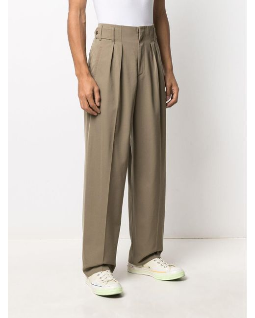 Maison Kitsuné Green Pressed-crease Tailored Trousers for men