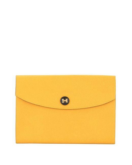 Клатч С Застежкой-защелкой С Логотипом Pre-owned Hermès, цвет: Yellow