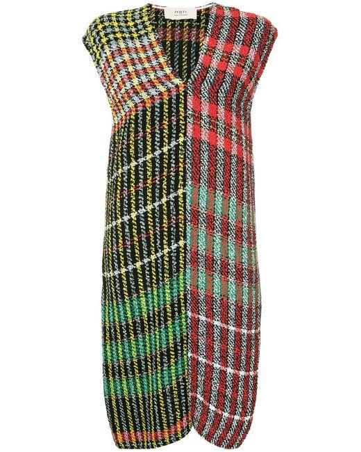 Ports 1961 チェック ツイード ドレス Green