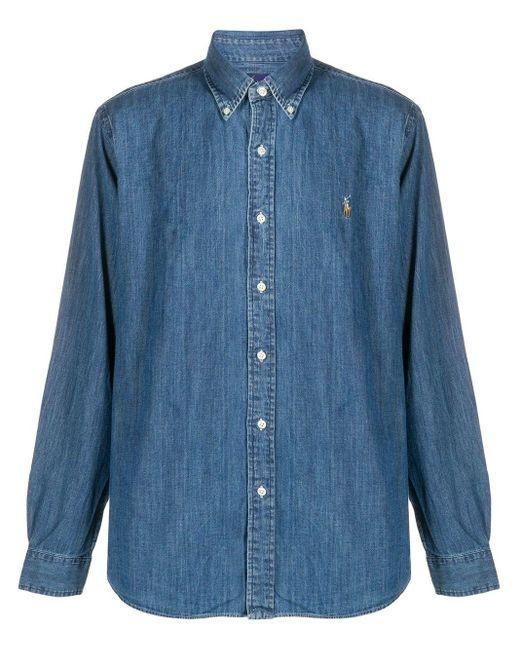 メンズ Polo Ralph Lauren ロゴパッチ シャツ Blue