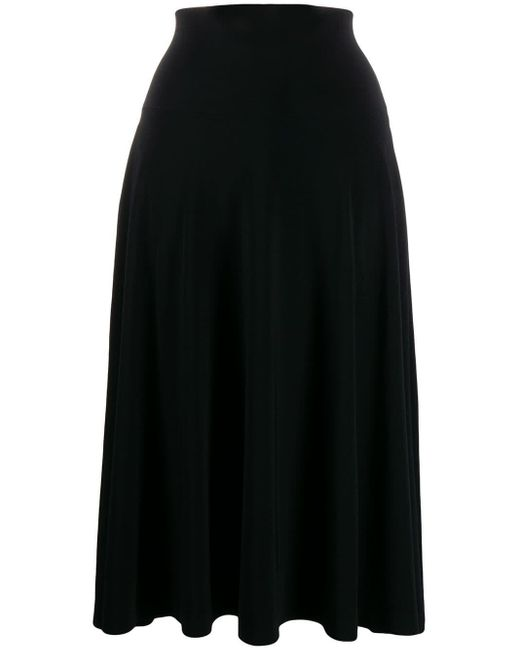 Norma Kamali フレア ミディスカート Black