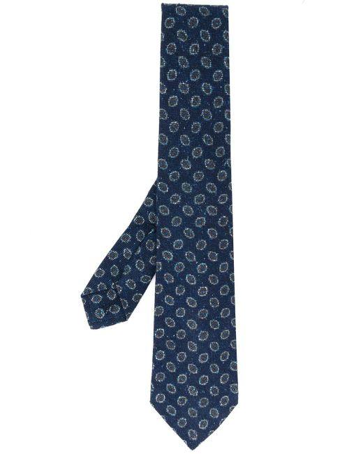 メンズ Kiton パターン ネクタイ Blue
