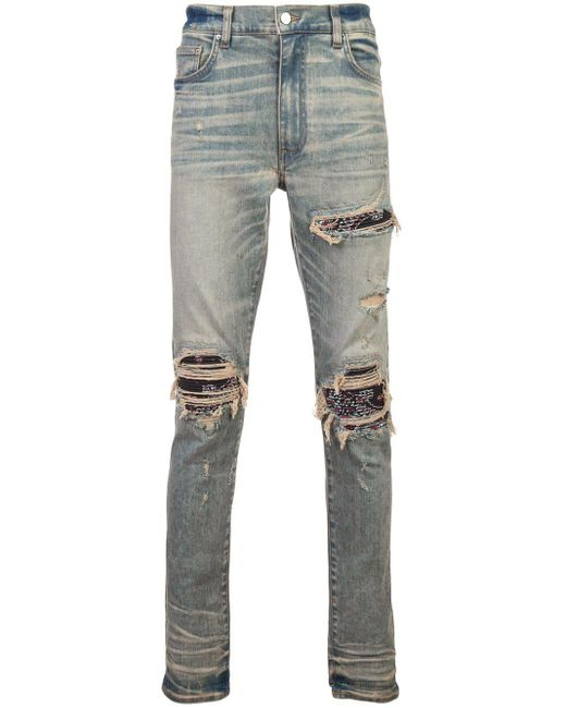 Amiri Blue Ripped Layered Skinny Jeans for men