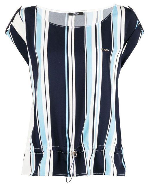 Liu Jo ストライプ ロゴ Tシャツ Blue