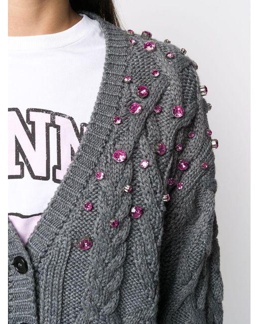 Декорированный Кардиган Фактурной Вязки MSGM, цвет: Gray
