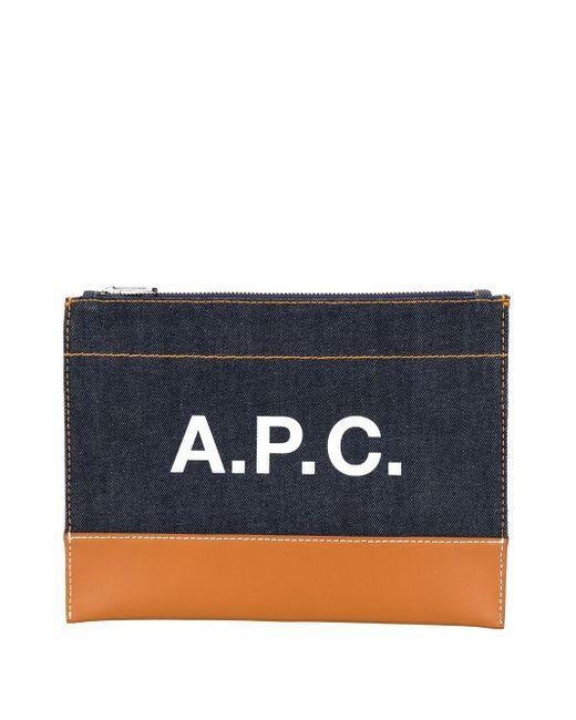 A.P.C. ロゴ デニム クラッチバッグ Blue
