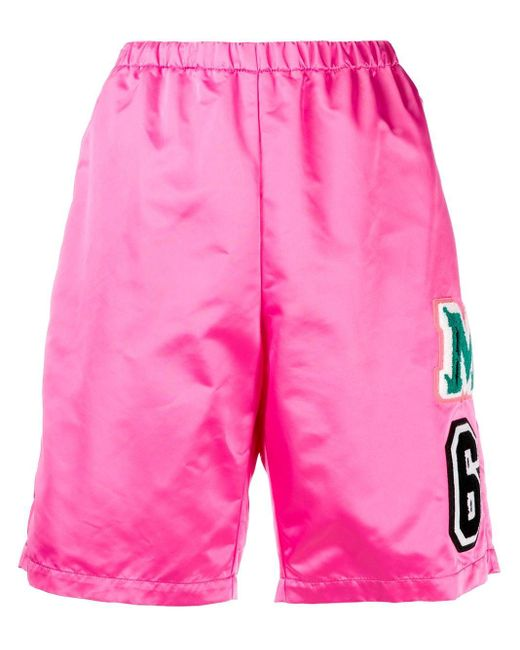 MM6 by Maison Martin Margiela Pink Logo Patch Elasticated Shorts