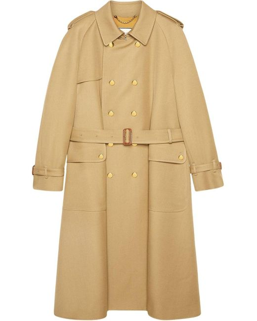 Gucci Natural Double-breasted Trench Coat for men
