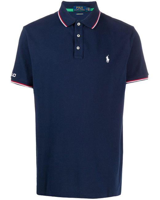 メンズ Polo Ralph Lauren ストライプトリム ポロシャツ Blue