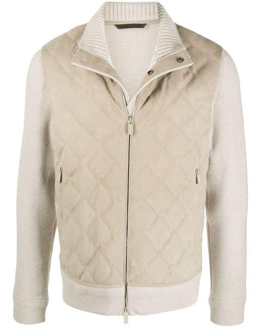 Стеганая Куртка С Высоким Воротником Ermenegildo Zegna для него, цвет: Natural