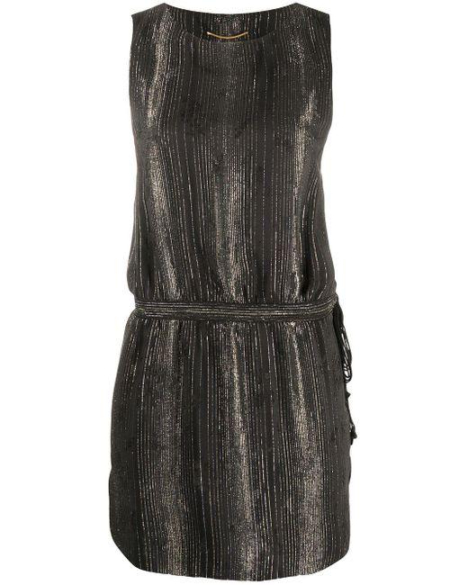 Saint Laurent Black Gestreiftes Minikleid
