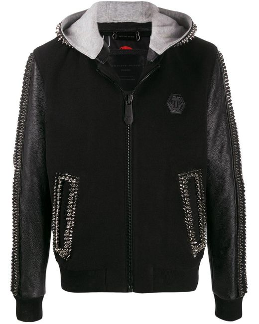 Men's Black Studded Hooded Jacket