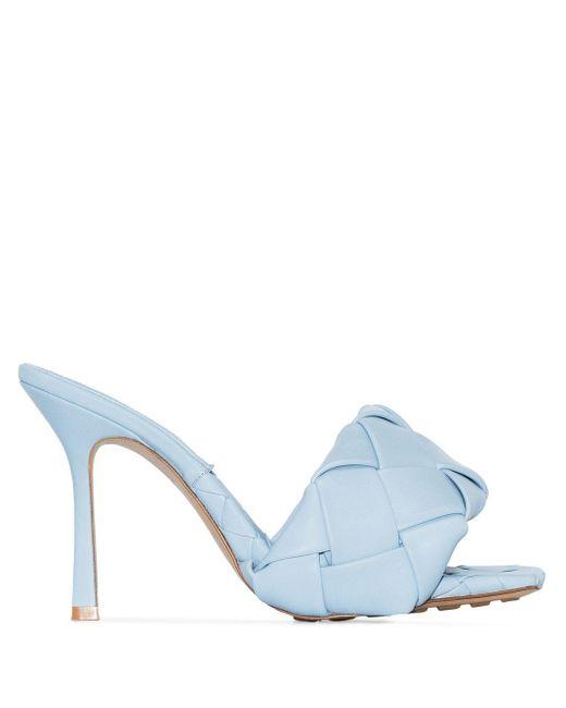 Bottega Veneta ブルー イントレチャート Lido ヒール サンダル Blue