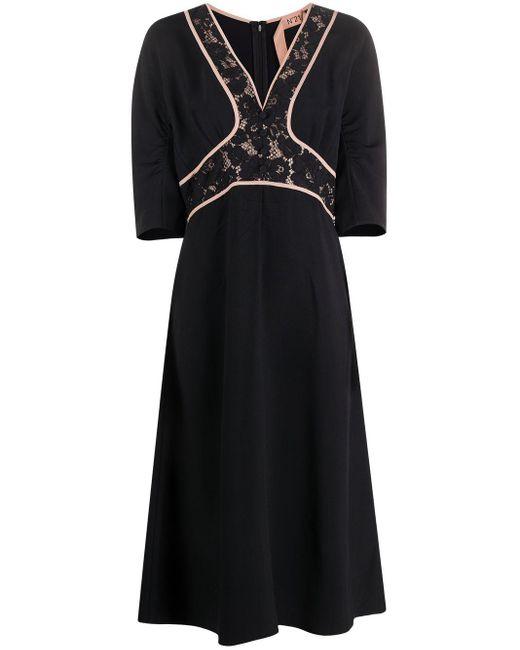 Платье Миди С Кружевной Вставкой N°21, цвет: Black