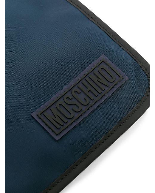 Clutch bicolore con logo di Moschino in Black da Uomo