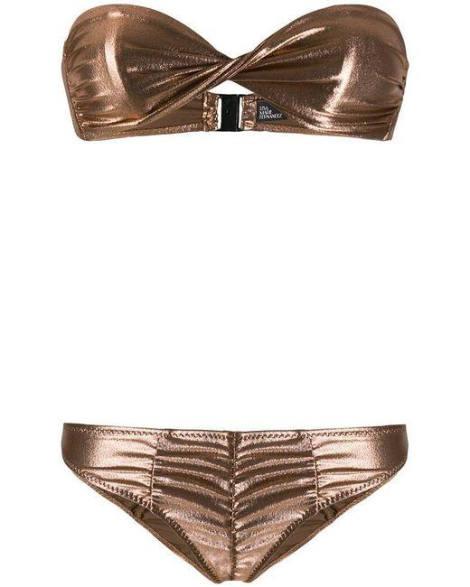 Lisa Marie Fernandez - Pink Bikini métallisé à fronces - Lyst