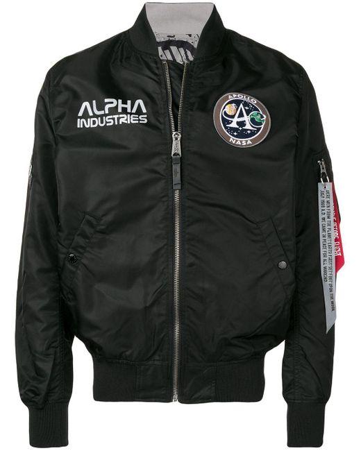 メンズ Alpha Industries ロゴ ボンバージャケット Black