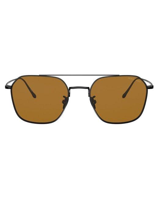 Giorgio Armani Black Aviator Framed Sunglasses for men