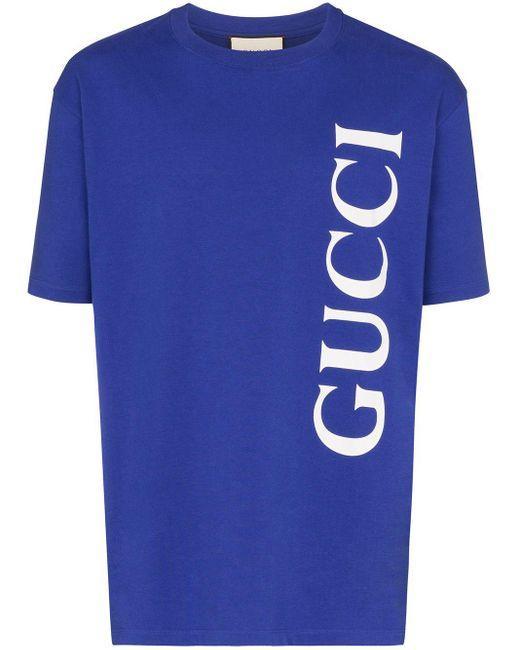 メンズ Gucci ロゴ Tシャツ Blue